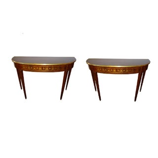 Boulle Inlaid Demi Lune Console Serving Tables - A Pair
