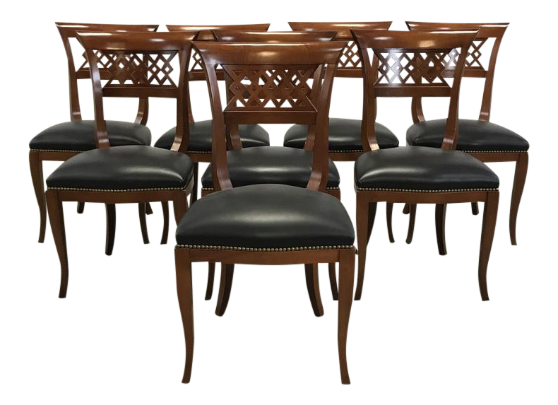 black leather nailhead dining chairs set of 8
