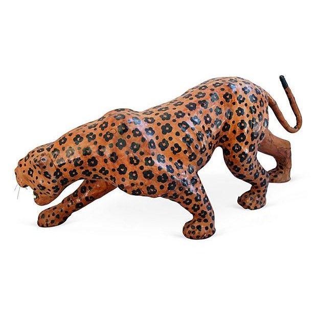 "Vintage Large 31"" Hand-Painted Leather Jaguar - Image 6 of 6"