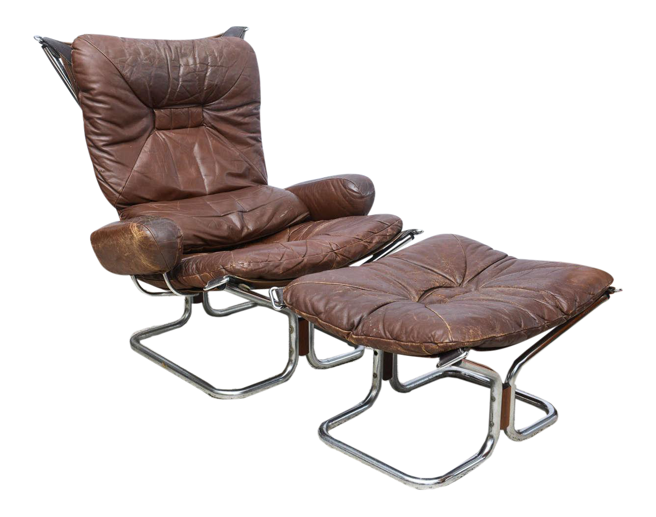 Ingmar Relling For Westnofa Chrome And Leather Chair And Ottoman Norway  1970s   Image 1 Of