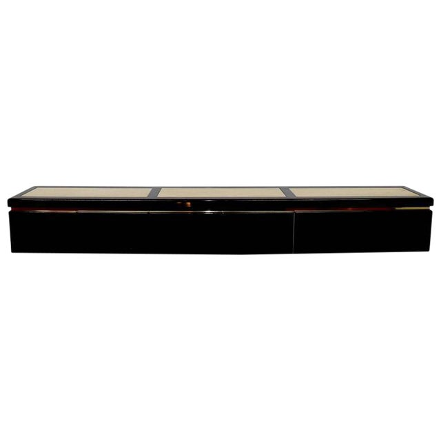 Very Large Custom Wall Hung Console in Black Lacquer and Travertine - Image 1 of 8