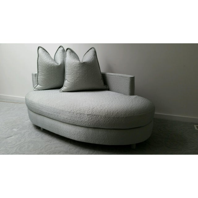 Ice Blue Silk Taffeta Oval Chaise - Image 2 of 3