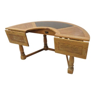 Distressed Country Oak Half Round Desk