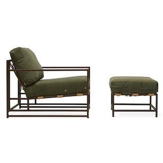 Stephen Kenn Military Armchair and Ottoman Set