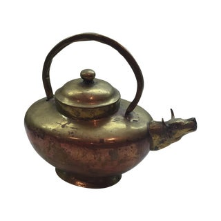 Vintage Handmade Brass & Copper Lidded Teapot