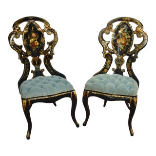 Pair of 19th Century French Three-Piece Hand-Painted Set With Mother-Of-Pearl and Gilt