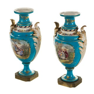 Sevre Blue Painted Porcelain Urns - Pair