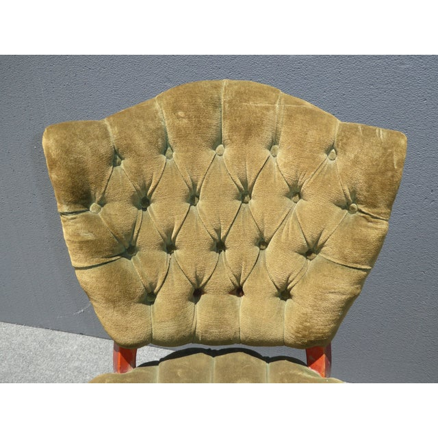 French Provincial Tufted Velvet Chairs - Pair - Image 8 of 11