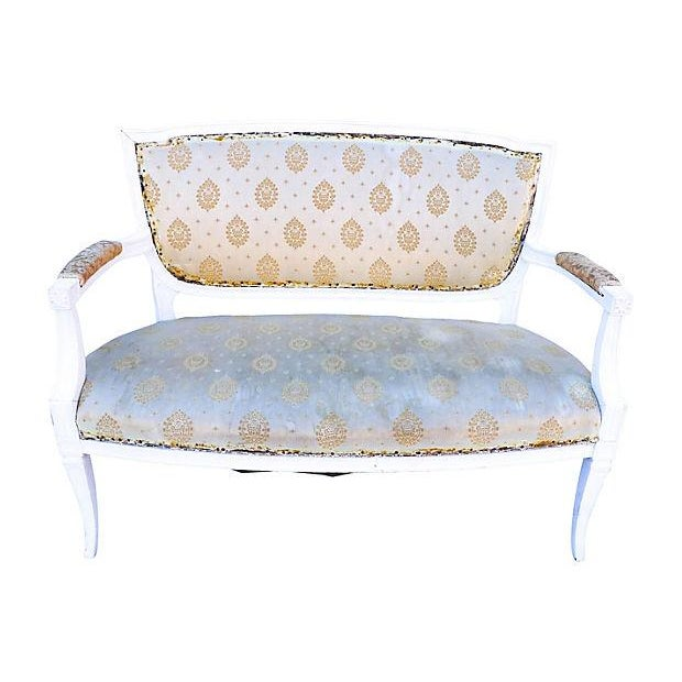 Petite French-Style Love Seat Painted White - Image 1 of 5