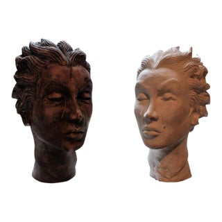 Ceramic Decorative Artistic Head Busts - A Pair
