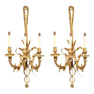 19th Century French Louis XVI Bronze Three-Light Sconces - A Pair