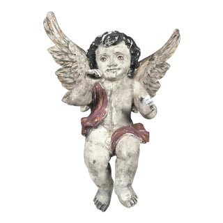 Large Handcarved Wood Hanging Angel