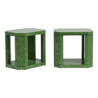 A Striking Pair of Green Hand Painted Faux Skin Side Tables 1980s