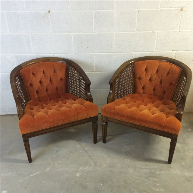 Mid Century Wood And Cane Barrel Chairs Pair Chairish