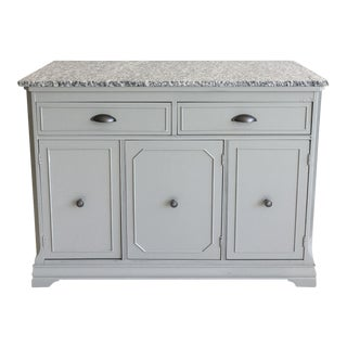 Vintage Refurbished Grey Storage Cabinet with Granite Top