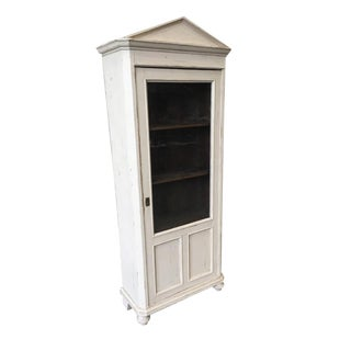 Swedish Antique White Painted Cabinet One Door Gustavian Glass Cabinet
