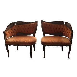 Vintage Asymmetrical Tufted & Caned Back Side Chairs - Pair