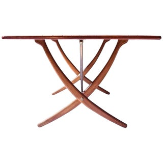 Vintage Hans Wegner AT-304 Sabre-Leg Dining Table in Teak, Oak & Brass, 1955