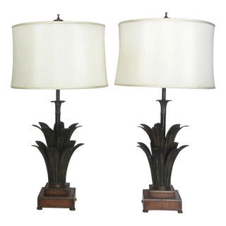Bronze Palm Leaf Table Lamps - A Pair