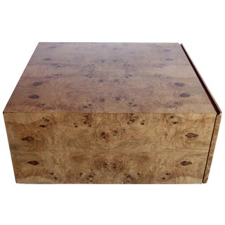 Milo Baughman Cube Coffee Table in Burled Olive