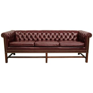 Vintage Chippendale Style Chesterfield Sofa