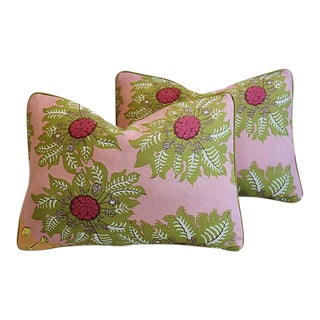 "Raoul Marquesas Floral & Scalamandre Mohair Feather/Down Pillows 22"" X 16"" - Pair"