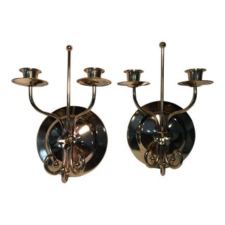 Vintage Brass Double Candle Wall Sconces - a Pair