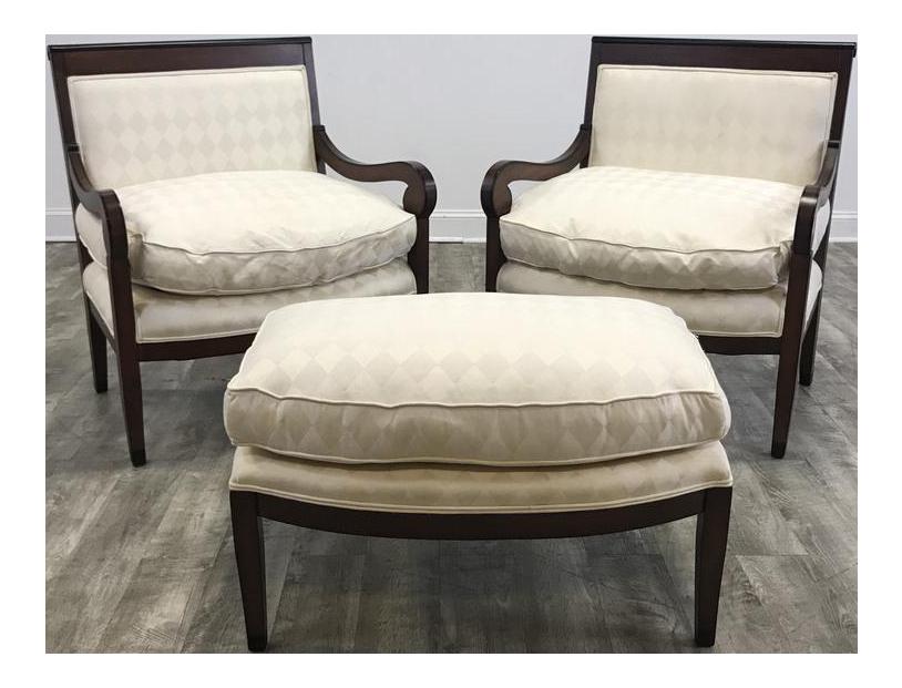 white argyle chairs and ottoman set set of 3