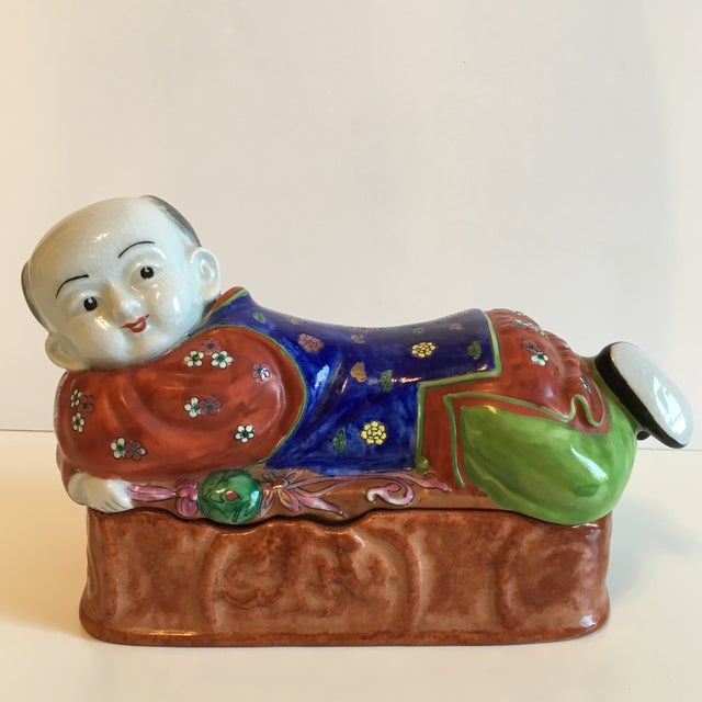 Lidded Porcelain Box With Asian Man Figure - Image 2 of 10