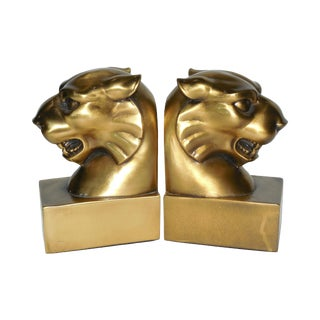 Lacquered Brass Tiger Bookends