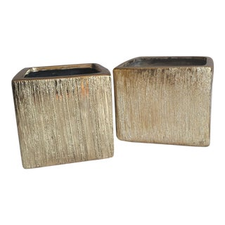 Gold Metallic Square Vessels - A Pair