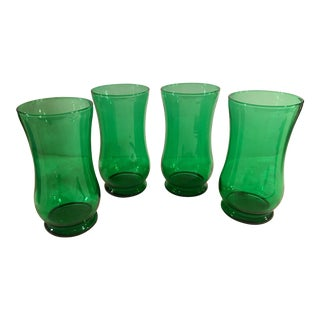 Mid-Century Green Footed Tumblers - Set of 4