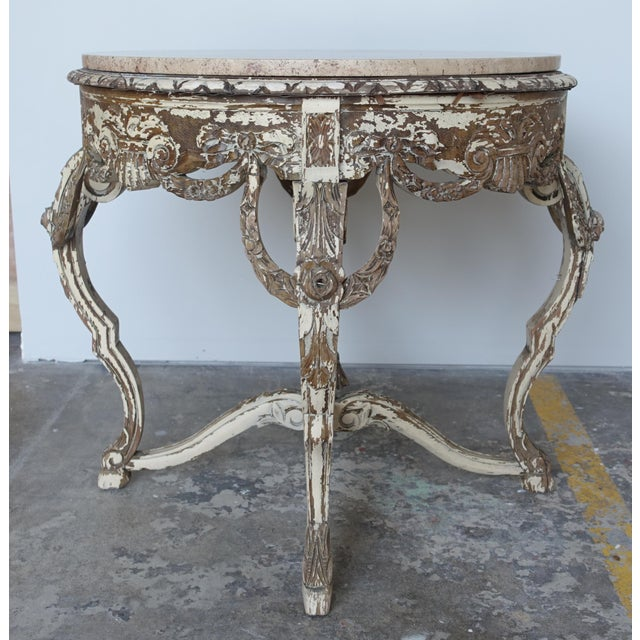 French Carved & Painted Stone Top Table - Image 2 of 10