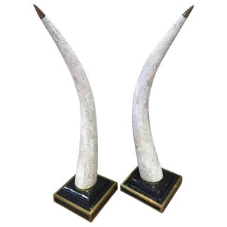 Travertine Faux Elephant Tusk Sculptures - A Pair