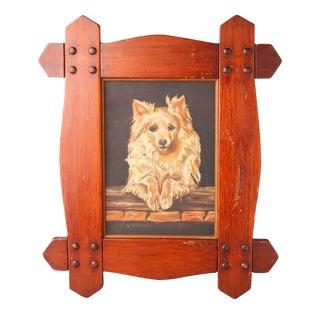 Original Sweet Dog Oil Painting on Board
