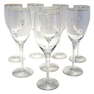 European Gilt Trimmed Goblets - S/8