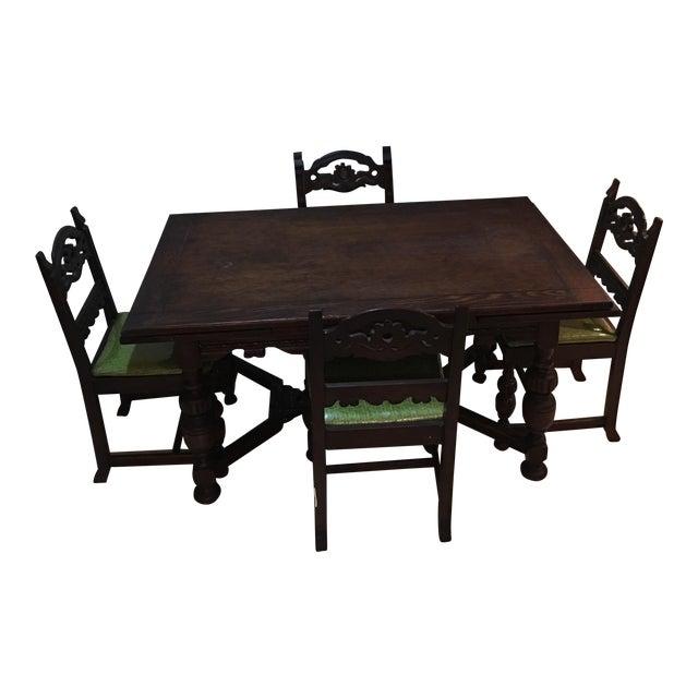 Vintage Holiday Green North Carolina Chair Company Dining Set - Image 1 of 11