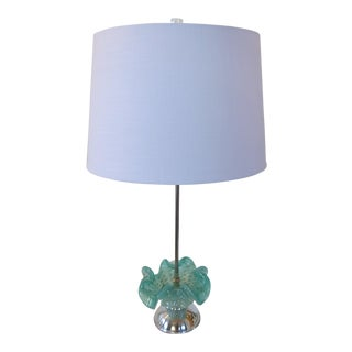 Aqua & Gold Fleck Vintage Murano Glass Lamp