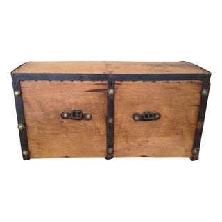 Antique Storage Trunk with Leather Straps