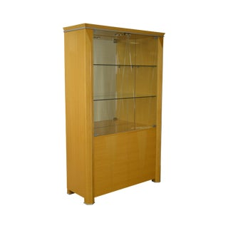 Giorgio Collection Italian Blonde Wood Vitrine Display China Curio Cabinet