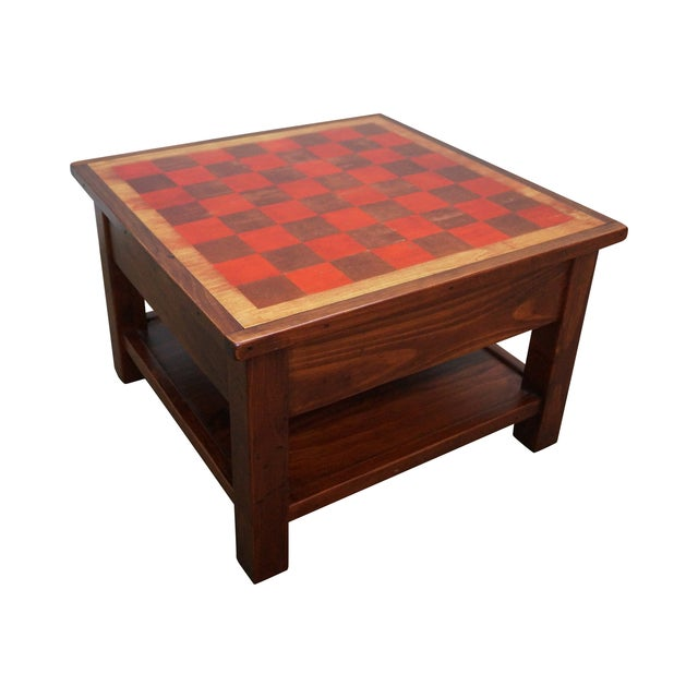 Solid Pine Primitive Checkerboard Top Side Table - Image 1 of 10