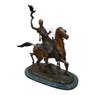 Pj Mene Large Bronze Sculpture Man Riding Horse