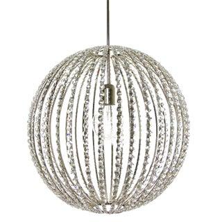 "Design Chandelier - 10"" Nickel & Crystal Globe"
