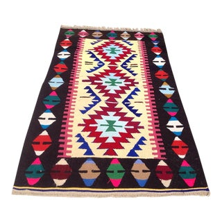 Vintage Turkish Kilim Rug - 2′9″ × 4′9″