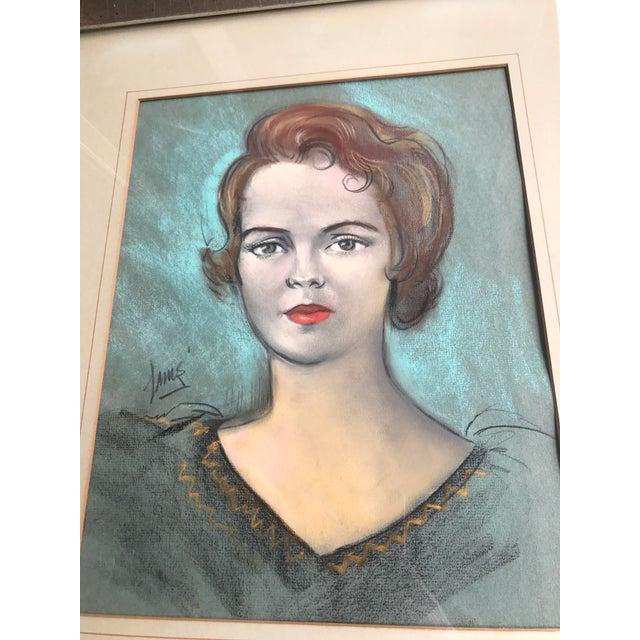 Vintage Chalk Pastels Female Portrait Drawing - Image 5 of 9