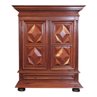 Early 19th Century French Louis XIII Walnut Carved Diamond Armoire