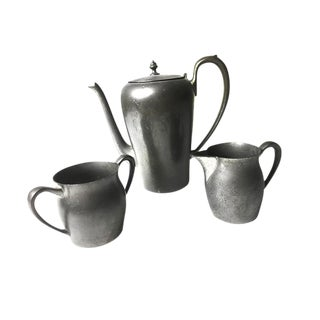 Vintage Solid Pewter Coffee / Tea Set - Set of 3