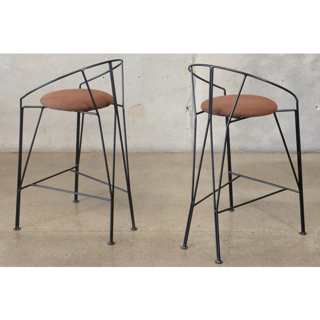 Unique Black-Painted Iron Barstools -- A Pair - Image 4 of 4