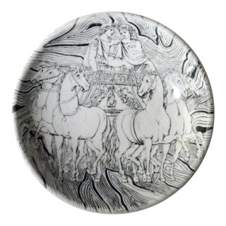 Vintage Piero Fornasetti Black and White Ashtray of a Roman Chariot,