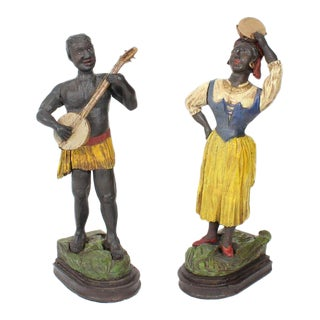 Pair of Early 20th Century Carved and Painted Blackamoor Musician Figures